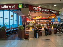 Coffeeshop company cafe at Domodedovo airport Royalty Free Stock Image