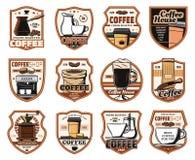 Coffeeshop kafeteria, kaffehussymboler royaltyfri illustrationer