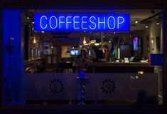 Coffeeshop neon signboard at night Royalty Free Stock Photography