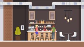 coffeinterioren shoppar Folk som dricker Latte plant vektor illustrationer