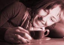 coffekoppkvinna Fotografering för Bildbyråer