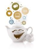 Coffepot met sociale en media pictogrammen in kleurrijke bellen Stock Fotografie