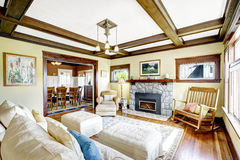 Coffered ceiling in living room. Stock Image