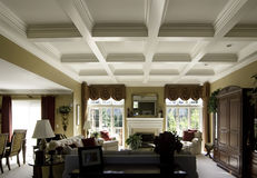 Coffered ceiling in a luxury home Royalty Free Stock Images