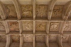 Coffered ceiling view. Symbolic coffered ceiling of Dampierre-sur-Boutonne castle in charente maritime , France Stock Photography