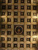 Coffered wooden ceiling Farfa Royalty Free Stock Photo
