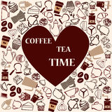 Cofffe and tea time  cute seamless pattern Stock Image