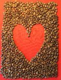 Cofffee beans and red heart Stock Photography
