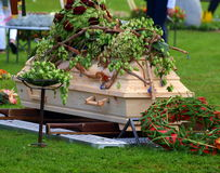 Coffin. Burial with coffin on cemetery Stock Photo