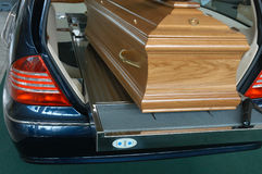 Coffin. A wooden coffin in a funeral car Stock Photography