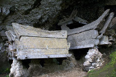 Coffin in a burial cave/grave Tana  Toraja Royalty Free Stock Photo