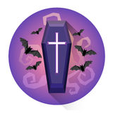 Coffin Cemetery Grave Halloween Holiday Icon Royalty Free Stock Photos