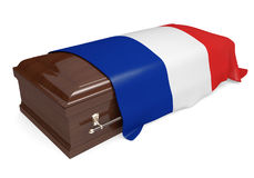 Coffin covered with the national flag of France. Isolated on a white background vector illustration