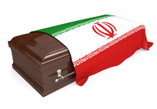 Coffin covered with the national flag of Iran. Isolated on a white background stock illustration