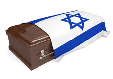 Coffin covered with the national flag of Israel. Isolated on a white background vector illustration