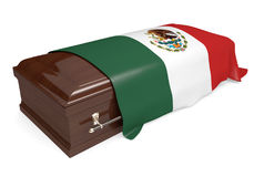 Coffin covered with the national flag of Mexico. Isolated on a white background vector illustration