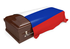 Coffin covered with the national flag of Russia. Rendered in 3D on a white background vector illustration