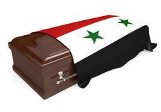 Coffin covered with the national flag of Syria. Isolated on a white background stock illustration