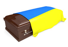 Coffin covered with the national flag of Ukraine. Isolated on a white background stock illustration