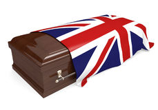 Coffin covered with the national flag of the United Kingdom Royalty Free Stock Photography