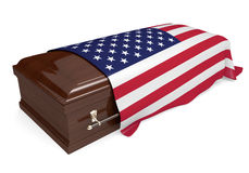 Coffin covered with the national flag of the United States. 3D rendering of a burial casket draped with the national flag of the United States royalty free illustration