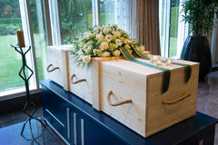 Coffin in crematory Stock Photo