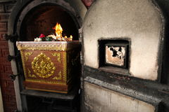 Coffin in crematory Thai funeral Royalty Free Stock Image
