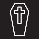 Coffin with cross line icon, white outline sign, vector illustration. Stock Photography