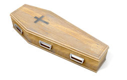 Coffin And Crucifix. A wooden coffin with a metal crucifix and handles on an isolated white studio background - 3D Render Stock Photos