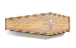 Coffin And Crucifix. A wooden coffin with a metal crucifix and handles on an isolated white studio background - 3D Render Royalty Free Stock Image