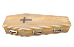 Coffin And Crucifix. A wooden coffin with a metal crucifix and handles on an isolated white studio background - 3D Render Royalty Free Stock Photo