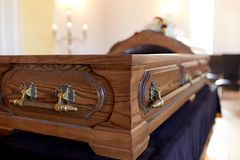Coffin at funeral in church Royalty Free Stock Photography