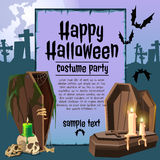 The coffin in an graveyard, card with sample text Royalty Free Stock Photo