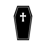 Coffin halloween card icon Stock Photography