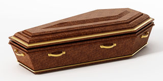 Coffin isolated on white background. 3D illustration Royalty Free Stock Photos