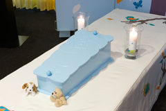 Coffin for kid. A blue coffin for a little boy in a morgue Stock Photo