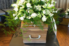 Coffin in morgue Royalty Free Stock Images