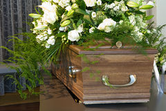 Coffin in morgue Royalty Free Stock Photos