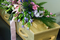 Coffin in morgue Royalty Free Stock Image