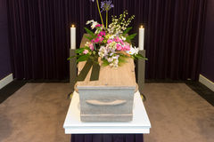 Coffin in morgue Royalty Free Stock Photo