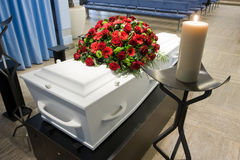 Coffin in morgue Royalty Free Stock Photography