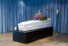 Coffin in mortuary Stock Images