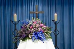 Coffin in mortuary Stock Photo