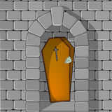 Coffin is open!. An illustration of a crypt where is inside there is a coffin open with a spectral hand on side that tries to come out Stock Photography