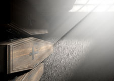 Coffin Row In A Room. A row of upright wooden coffins against a wall in a dilapidated room lit by light through a window - 3D Render- 3D Render Stock Images