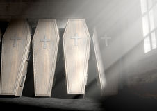Coffin Row In A Room Stock Photography