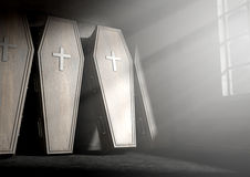 Coffin Row In A Room. A row of upright wooden coffins against a wall in a dilapidated room lit by light through a window - 3D Render- 3D Render Royalty Free Stock Photo