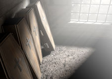 Coffin Row In A Room. A row of upright wooden coffins against a wall in a dilapidated room lit by light through a window - 3D Render- 3D Render Stock Photo