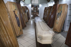 Coffin shop. Display of coffins. Royalty Free Stock Photography