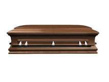 Coffin side view on white Stock Photo
